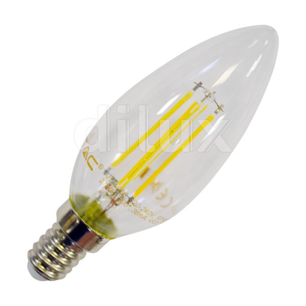 V tac vt 1986 lampadina led e14 filamento candela 4w sku for Lampadine led 4 watt