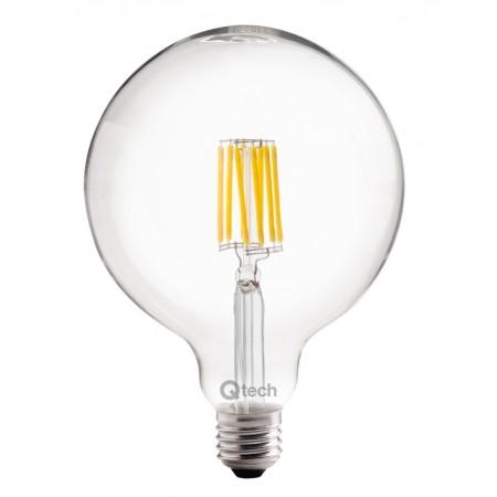 Qtech Lampadina LED E27 Filamento Globo G125 8W