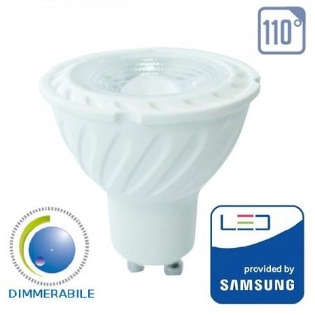 V-Tac PRO VT-247D Lampadina LED GU10 Faretto Spotlight 6.5W 110° Dimmerabile CHIP SAMSUNG - SKU 198 | 199 | 200