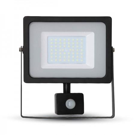 V-Tac VT-4850 PIR Faro LED Ultra Slim 50W Nero con Sensore di Movimento e Crepuscolare - SKU 5701 | 5702 | 5717