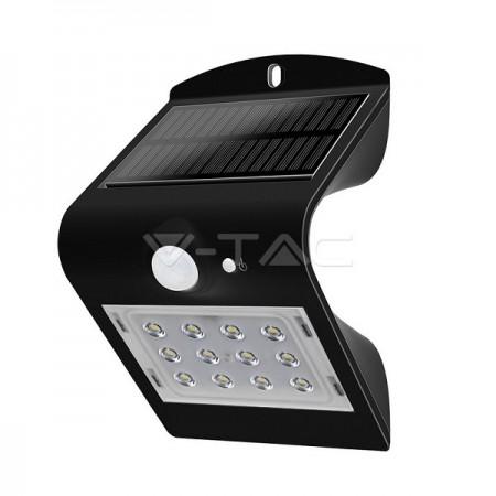 V-Tac VT-767 Faretto LED per Esterno Nero 1,5W con Pannello Solare, Sensore di Movimento e Crepuscolare - SKU 8277
