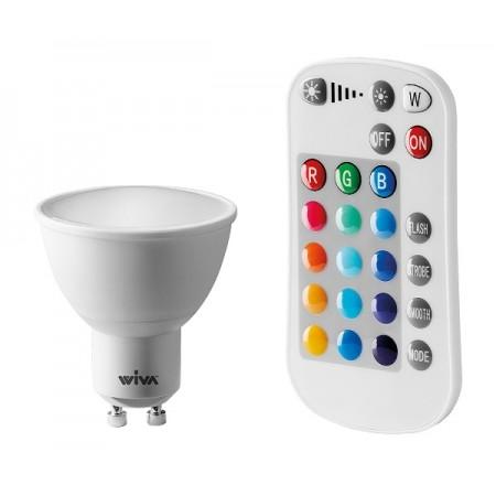 Wiva Lampadina LED GU10 Faretto Spotlight 5W RGB+W con Telecomando