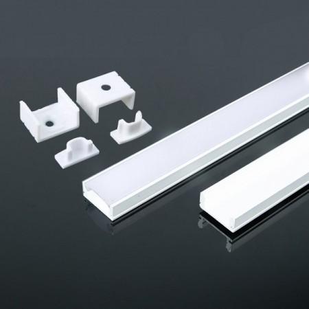 V-Tac VT-8113-W Profilo in Alluminio Col. Bianco per Strisce LED 2MT. - SKU 3365