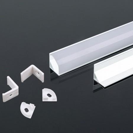 V-Tac VT-8109-W Profilo Angolare 45° in Alluminio Col. Bianco per Strisce LED 2MT. - SKU 3369