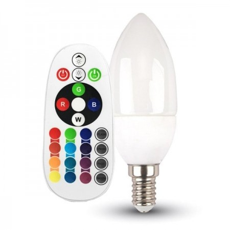 V-Tac VT-2214 Lampadina LED E14 Candela 3.5W RGB+W con Telecomando - SKU 2769 | 2770 | 2771