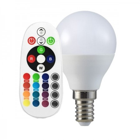V-Tac VT-2234 Lampadina LED E14 Mini-Bulbo 3.5W RGB+W con Telecomando - SKU 2775 | 2776 | 2777