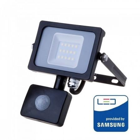 V-Tac Pro VT-10-S Faro LED Chip Samsung 10W Nero con Sensore di Movimento e Crepuscolare - SKU 436 | 437 | 438
