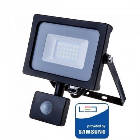 V-Tac Pro VT-20-S Faro LED Chip Samsung 20W Nero con Sensore di Movimento e Crepuscolare - SKU 451 | 452 | 453