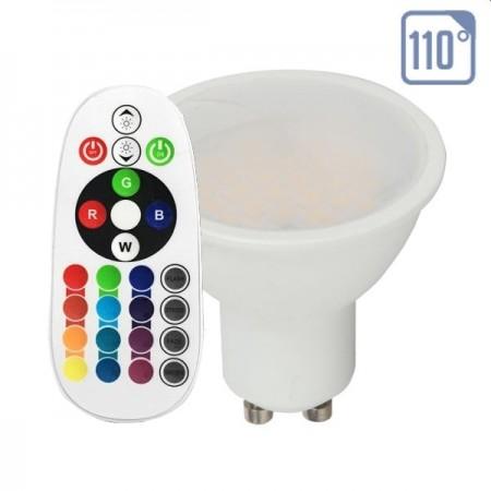 V-Tac VT-2244 Lampadina LED GU10 Faretto Spotlight 3.5W RGB+W con Telecomando - SKU 2778 | 2779 | 2780