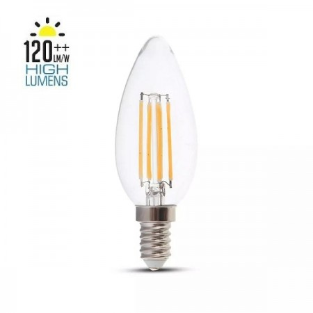V-Tac VT-2327 Lampadina LED E14 Filamento Candela 6W High Lumen - SKU 2848 | 2849 | 2850