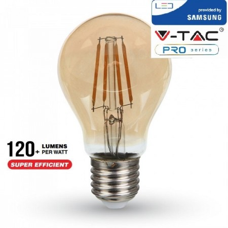 V-Tac PRO VT-266 Lampadina LED E27 Filamento Ambrata Classic Bulbo 6W CHIP SAMSUNG - SKU 286