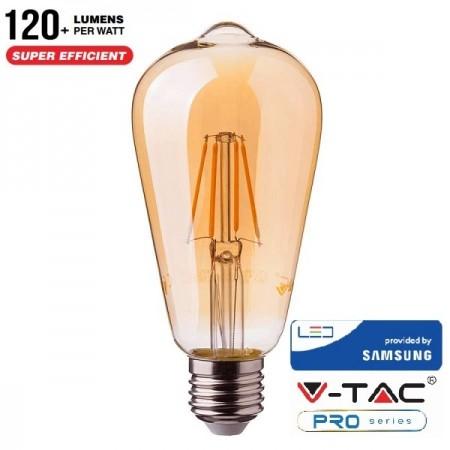 V-Tac PRO VT-276 Lampadina LED E27 Filamento Ambrata Bulbo ST64 6W CHIP SAMSUNG - SKU 290