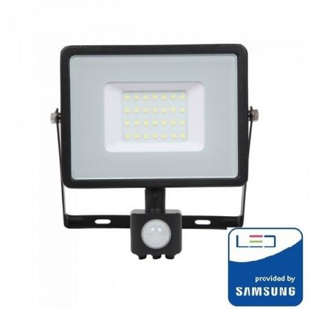 V-Tac Pro VT-30-S Faro LED Chip Samsung 30W Nero con Sensore di Movimento e Crepuscolare - SKU 460 | 461 | 462