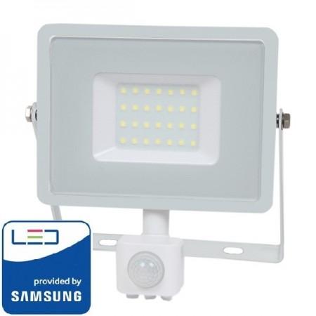 V-Tac Pro VT-30-S Faro LED Chip Samsung 30W Bianco con Sensore di Movimento e Crepuscolare - SKU 457 | 458 | 459