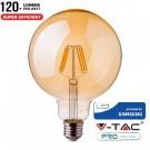 V-Tac PRO VT-297 Lampadina LED E27 Filamento Ambrata Globo G125 6W CHIP SAMSUNG - SKU 291