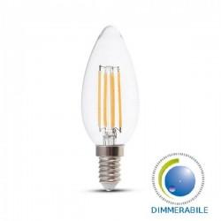 V-Tac VT-1986D Lampadina LED E14 Filamento Candela 4W Dimmerabile - SKU 4365