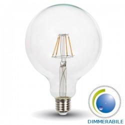 V-Tac VT-1994D Lampadina LED E27 Filamento Globo G125 4W Dimmerabile - SKU 4399