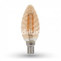 V-Tac VT-1948 Lampadina LED Filamento Ambrata Twist Candela E14 4W - SKU 7115