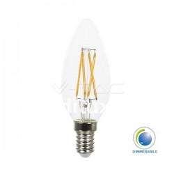 V-Tac VT-1986D Lampadina LED Filamento Candela E14 4W Dimmerabile - SKU 43651