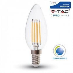 V-Tac PRO VT-254D Lampadina LED E14 Filamento Candela 4W Dimmerabile CHIP SAMSUNG - SKU 278
