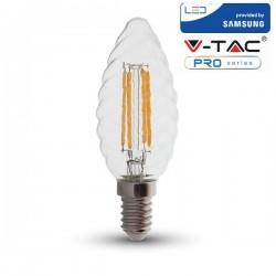 V-Tac PRO VT-274 Lampadina LED E14 Filamento Twist Candela 4W CHIP SAMSUNG - SKU 279