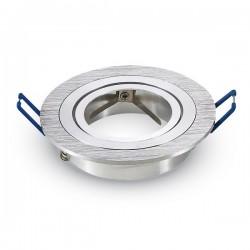 VT-782RD Portafaretto da Incasso Orientabile TONDO Alluminio Satinato - SKU 3600