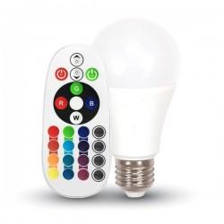 V-Tac VT-2229 Lampadina LED E27 Classic Bulbo 9W RGB+W con Telecomando - SKU 2766 | 2767 | 2768