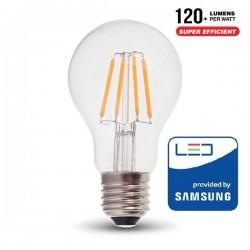 V-Tac PRO VT-256 Lampadina LED E27 Filamento Classic Bulbo 6W CHIP SAMSUNG - SKU 287