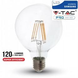 V-Tac PRO VT-286 Lampadina LED E27 Filamento Globo G95 6W CHIP SAMSUNG - SKU 294