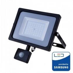 V-Tac Pro VT-50-S Faro LED Chip Samsung 50W Nero con Sensore di Movimento e Crepuscolare - SKU 469 | 470 | 471
