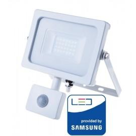 V-Tac Pro VT-20-S Faro LED Chip Samsung 20W Bianco con Sensore di Movimento e Crepuscolare - SKU 448   449   450